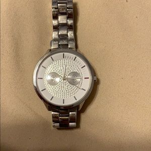 Silver and white watch